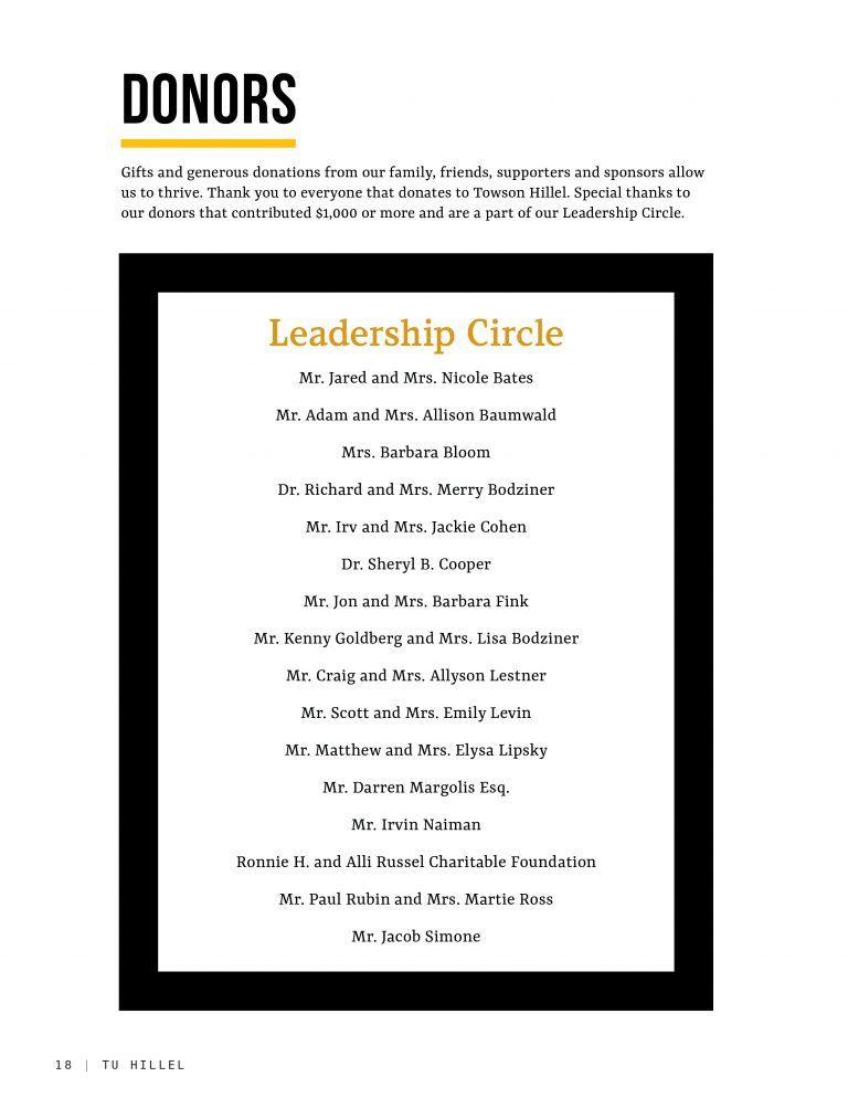 Donors and Leadership Circle